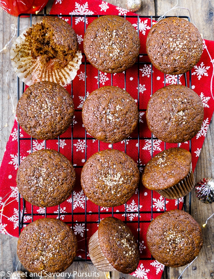 Gingerbread Muffins on cooling rack.
