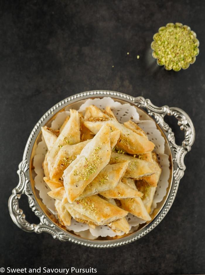 Rolled Baklava Recipe for walnut Baklava rolls.