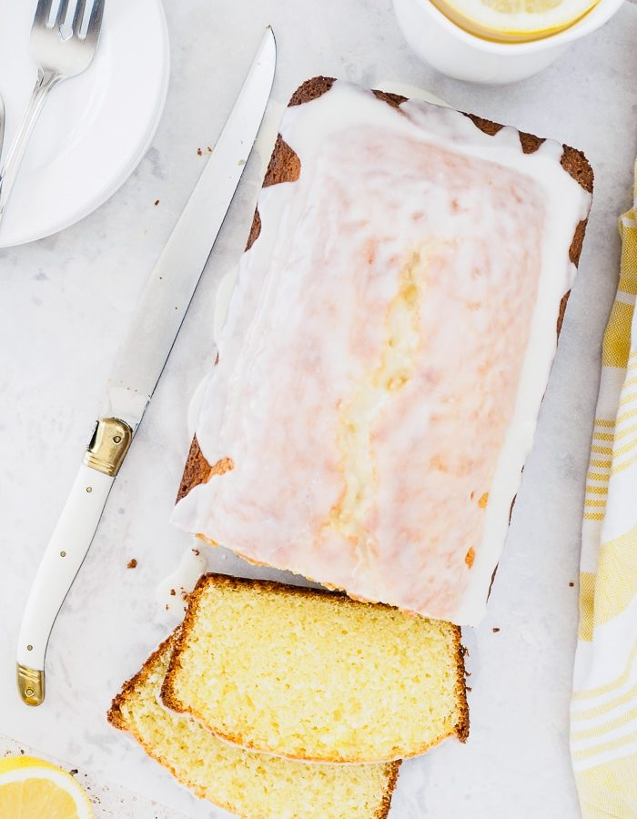 Top view of a Sliced Glazed Lemon Loaf.