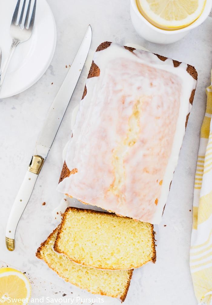 Sliced Glazed Lemon Loaf Cake