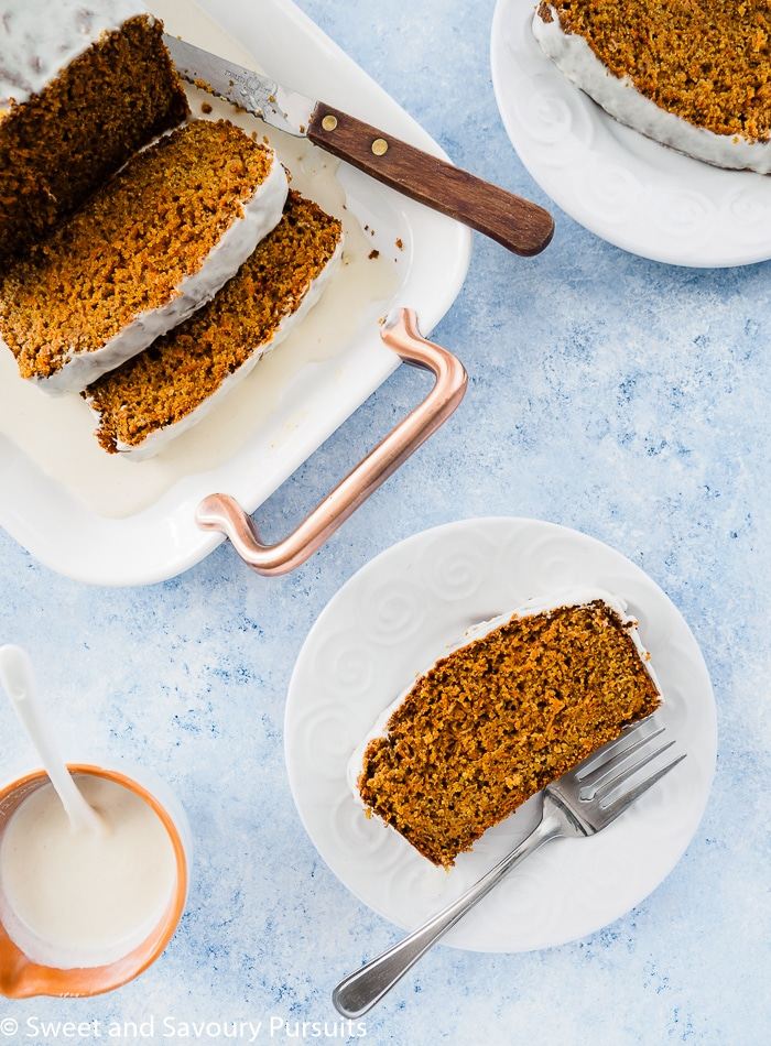 An easy recipe for a moist Healthy Carrot Bread made with whole wheat flour and lightly sweetened with pure maple syrup. Serve it plain or top it with a light ricotta icing for a special treat!