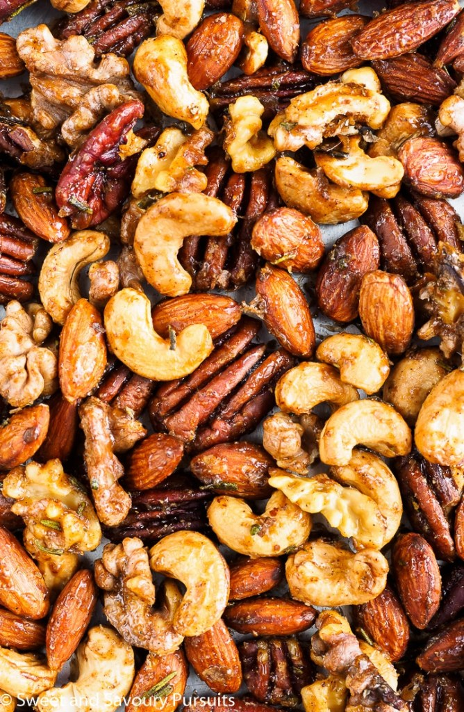 Roasted mixed nuts fresh from the oven.