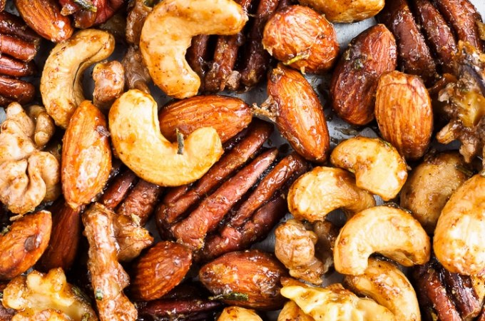 Mixed Spiced Nuts on tray fresh from the oven.