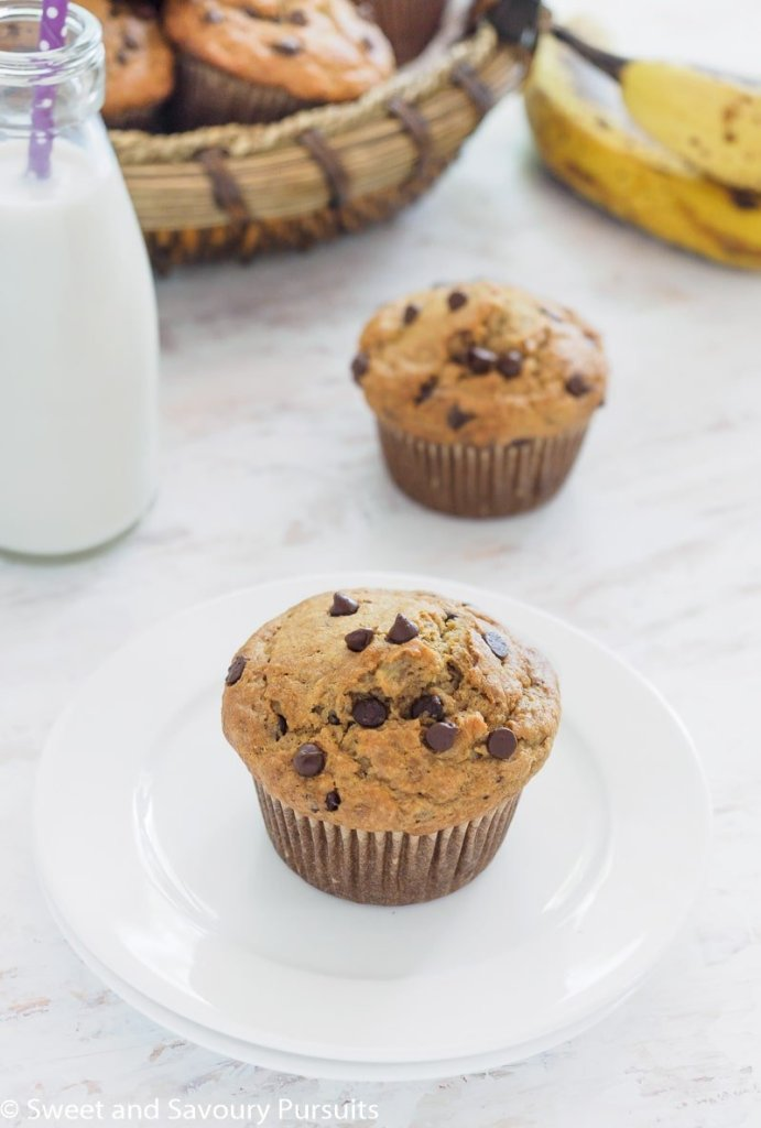 Banana Oatmeal Chocolate Chip Muffin on small white dish.