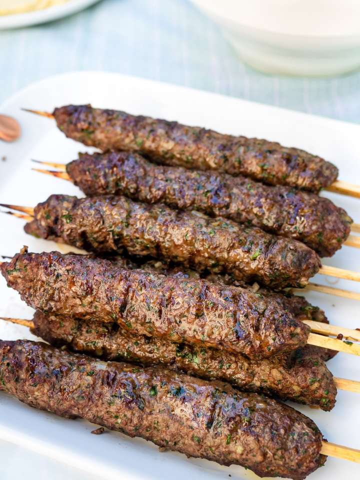 Grilled Kafta Kebabs on platter.