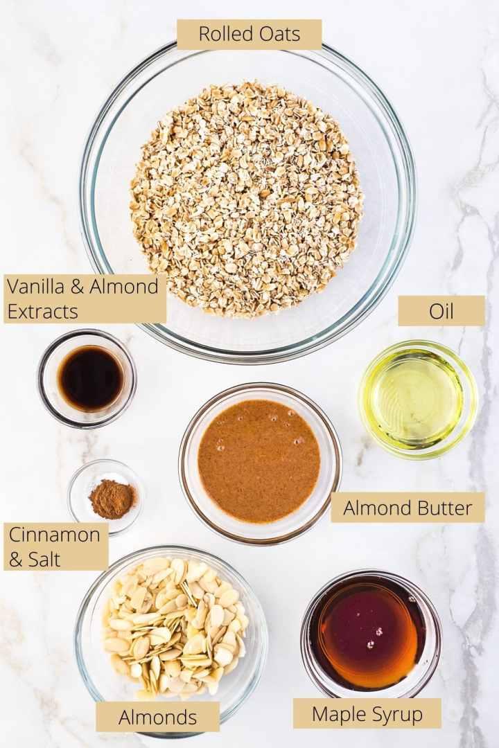 Ingredients needed to make vanilla almond granola.
