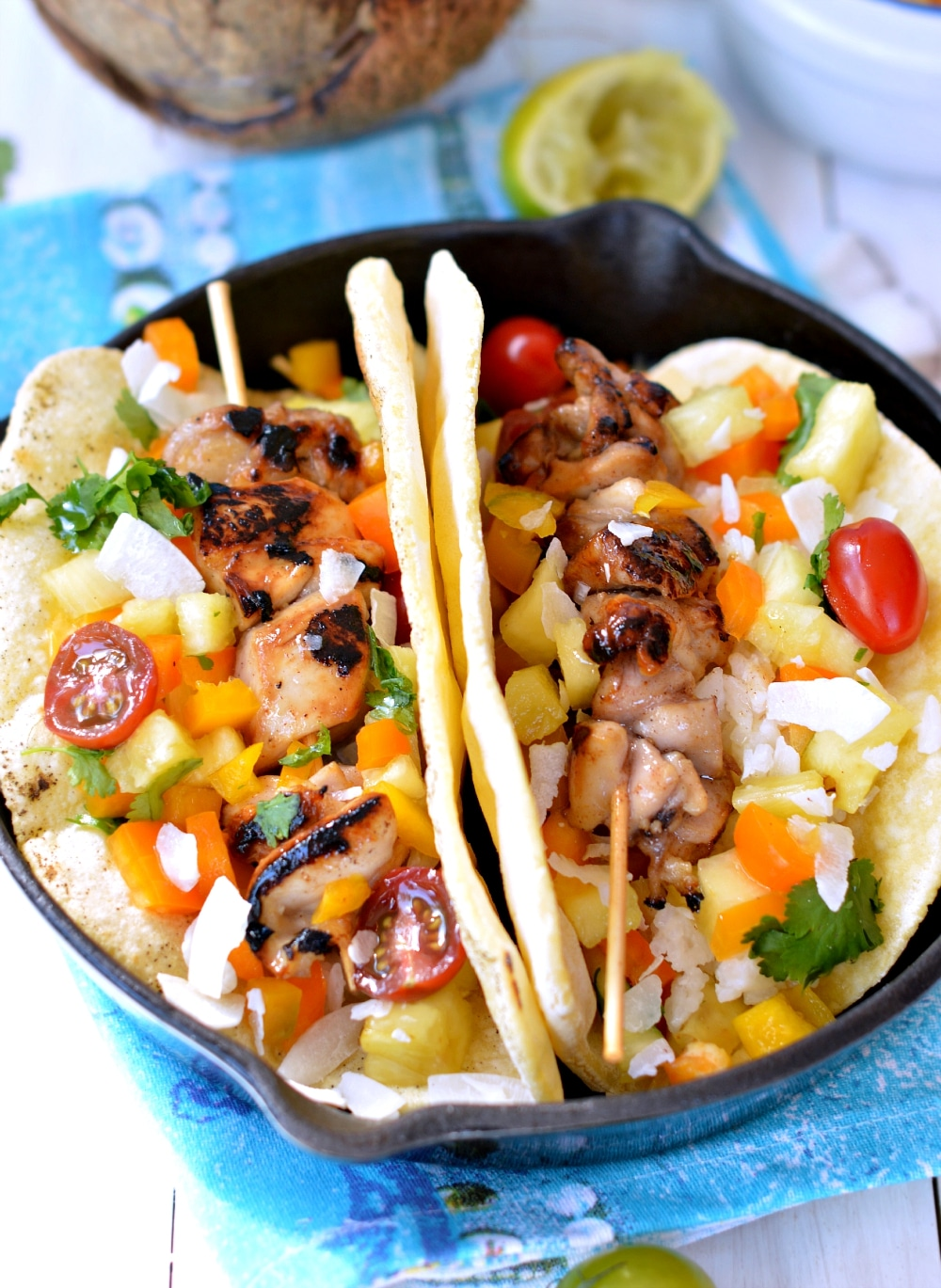 chicken skewers tortillas