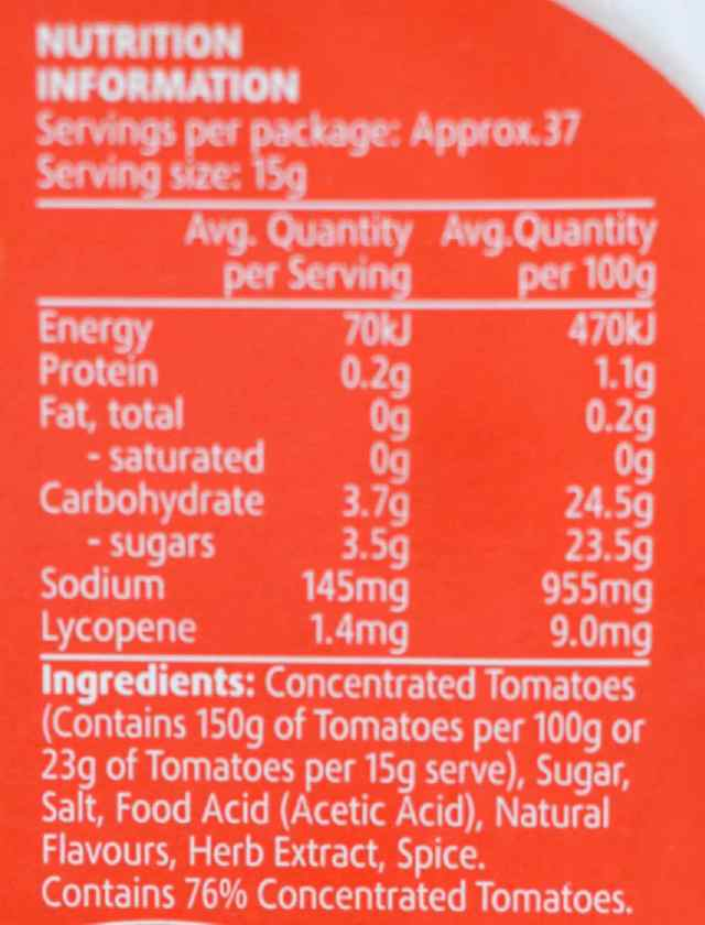 ketchup nutrition label