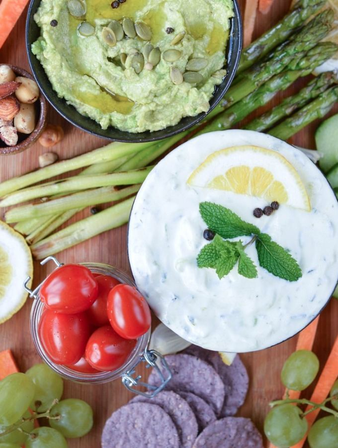 Vegan Tzatziki Sauce and Vegan Platter