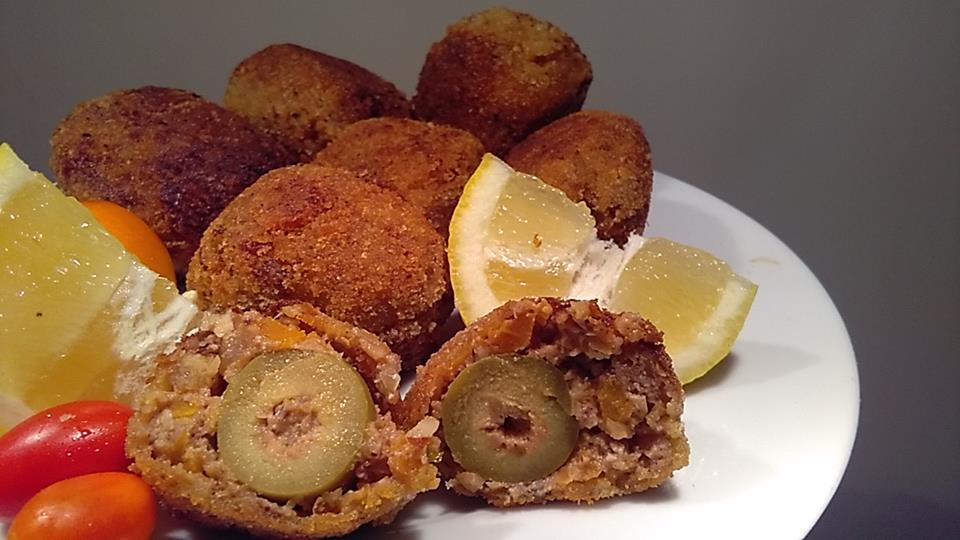 Stuffed olive ascolane vegan version of Italian starter (vegan finger food)