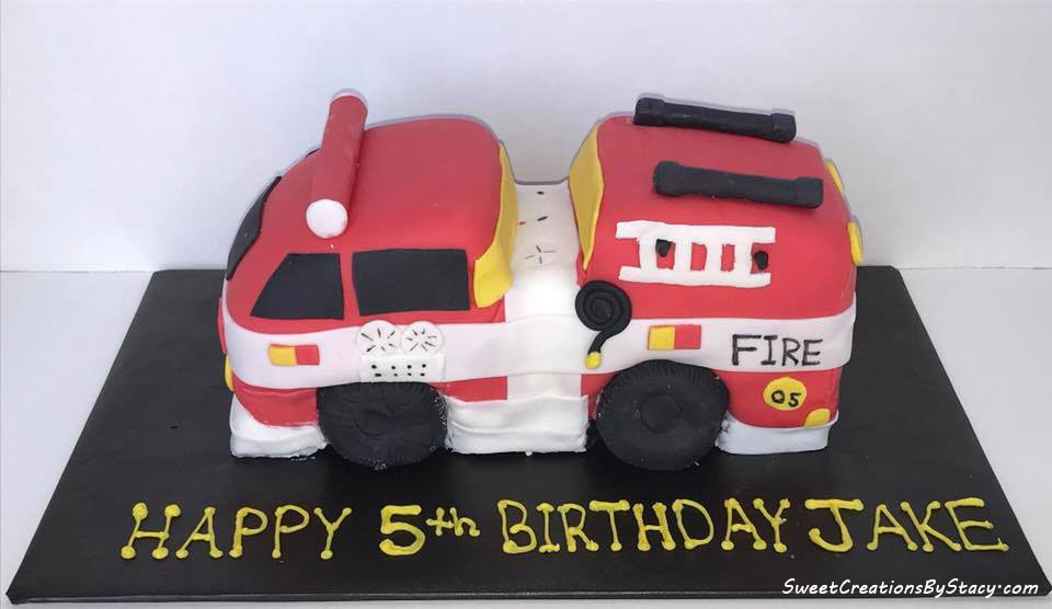 3-D Fire Truck Birthday Cake