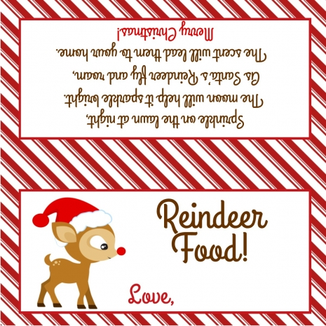 Reindeer Food Treat Bag Topper Sweetdesignsbyregan