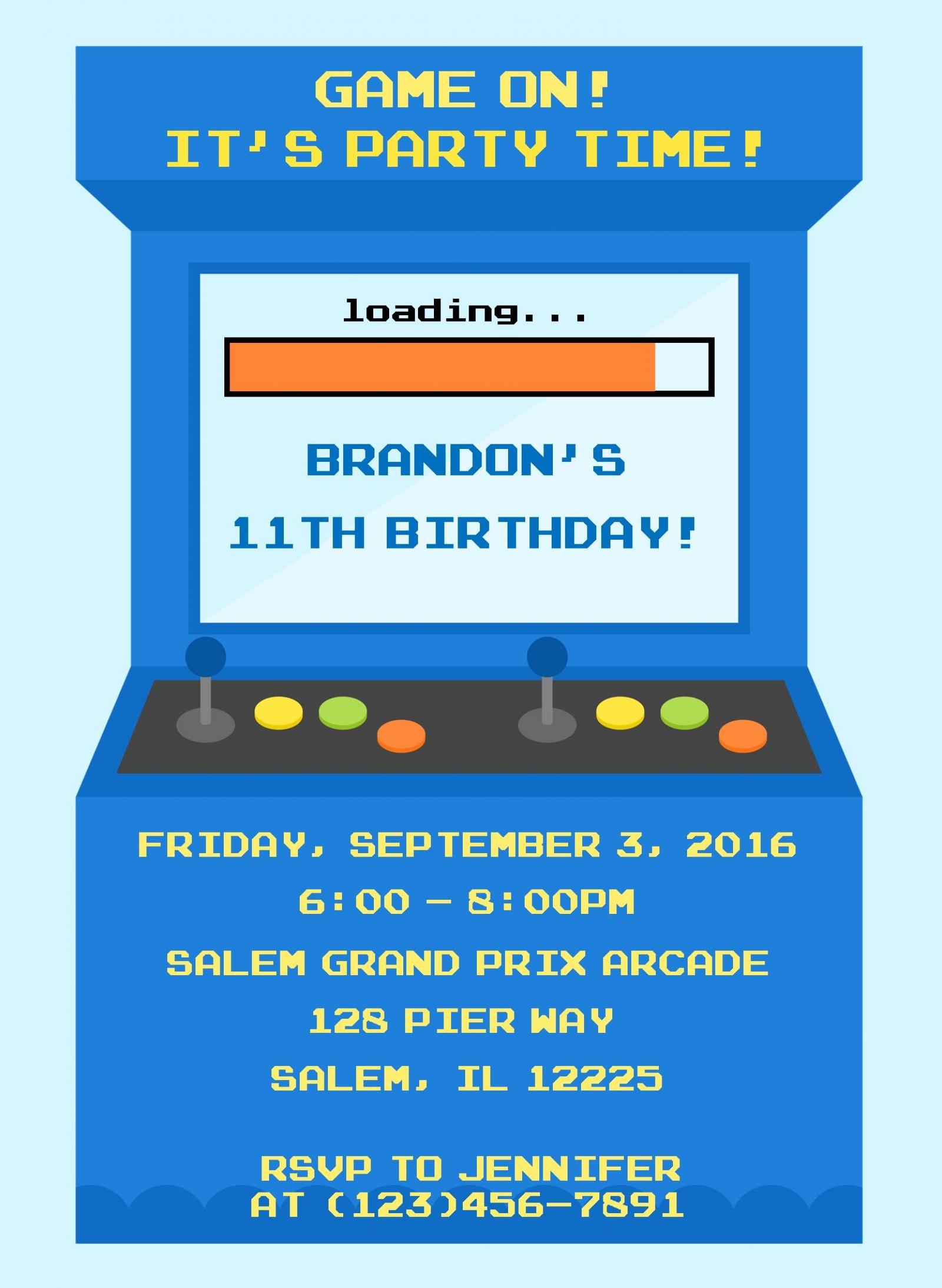 arcade video game birthday invitation digital file you print