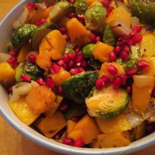 brussels sprouts medley w/ butternut squash and pomegranate