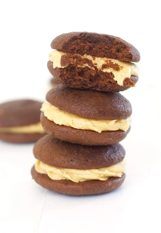 Chocolate Whoopie Pies with Peanut Butter Frosting