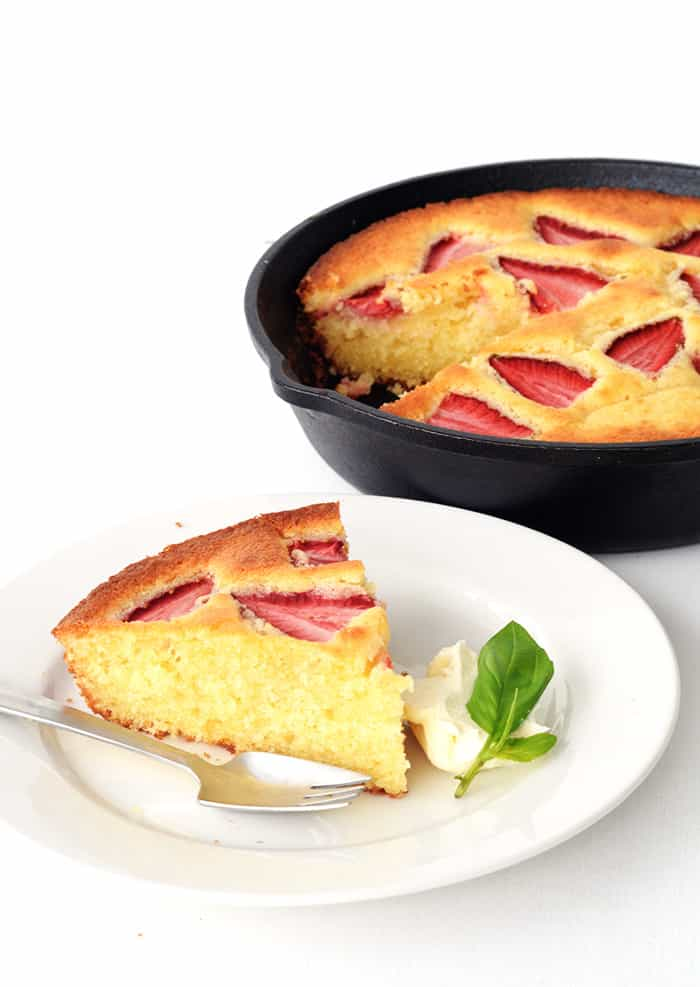 Lemon Strawberry Skillet Cake
