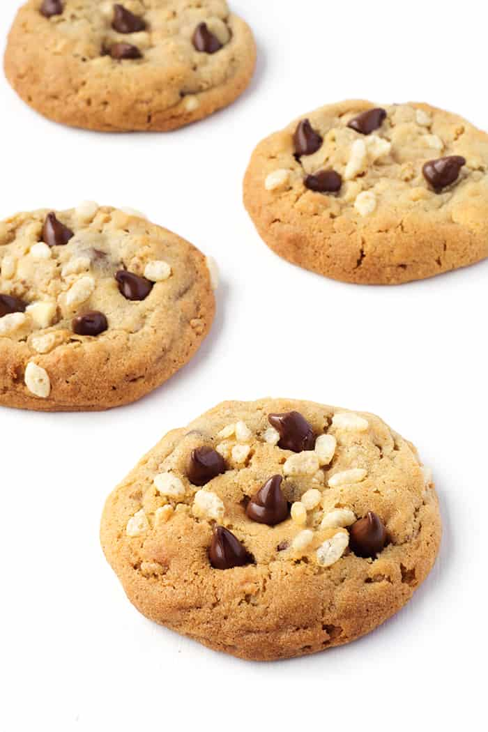 Chewy Rice Krispie Chocolate Chip Cookies