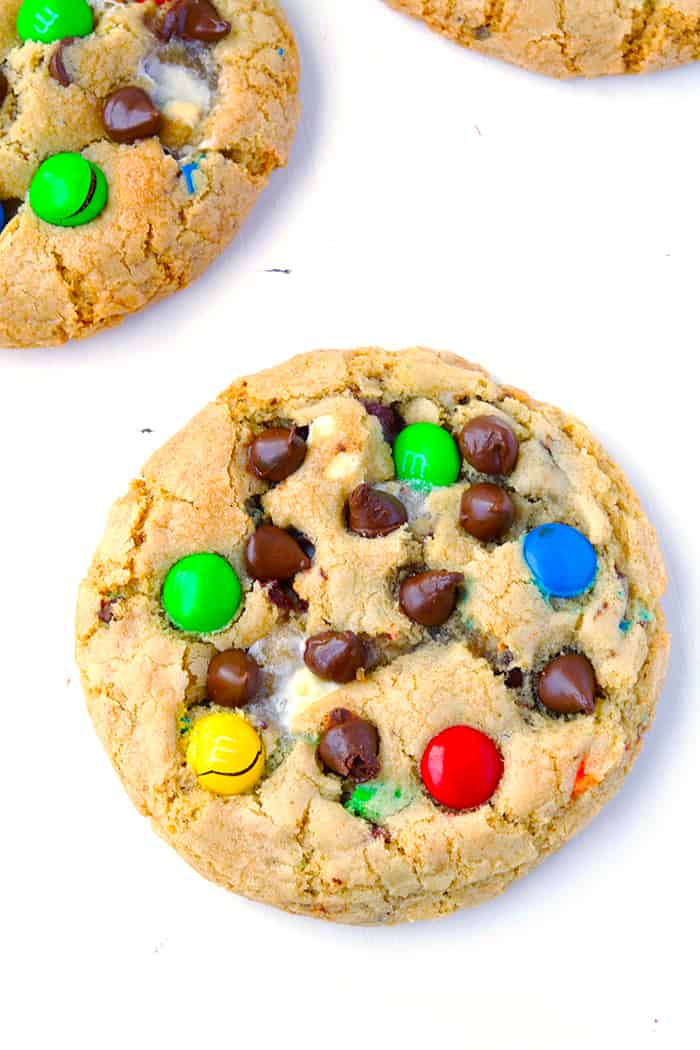Mega M&M Chocolate Chip Cookies