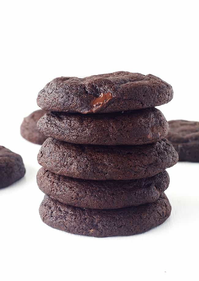 A stack of chocolate fudge cookies
