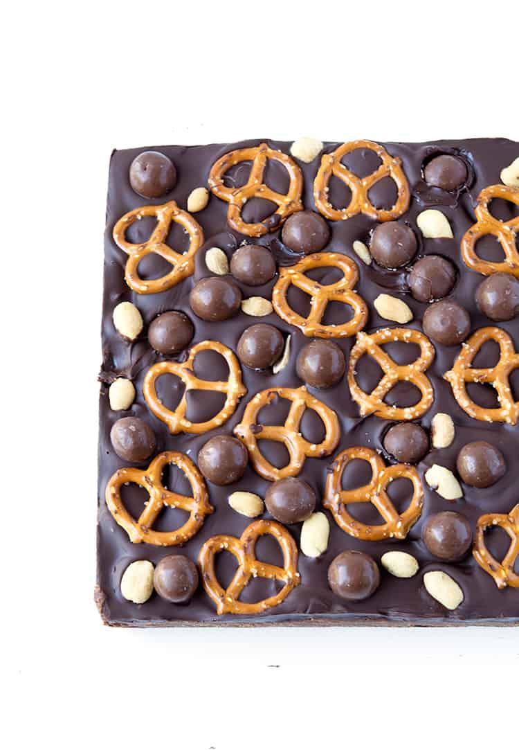 Sweet and Salty Chocolate Slice | via sweetestmenu.com