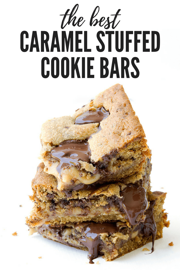 Love chocolate chip cookies? You will adore these Caramel Stuffed Chocolate Chip Cookie bars with a secret layer of caramel baked right into the middle. Recipe on sweetestmenu.com #cookiebars #chocolate #cookie #caramel
