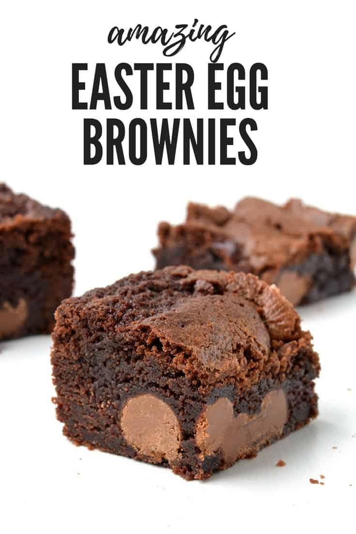 Chocolate brownies stuffed with mini Easter eggs