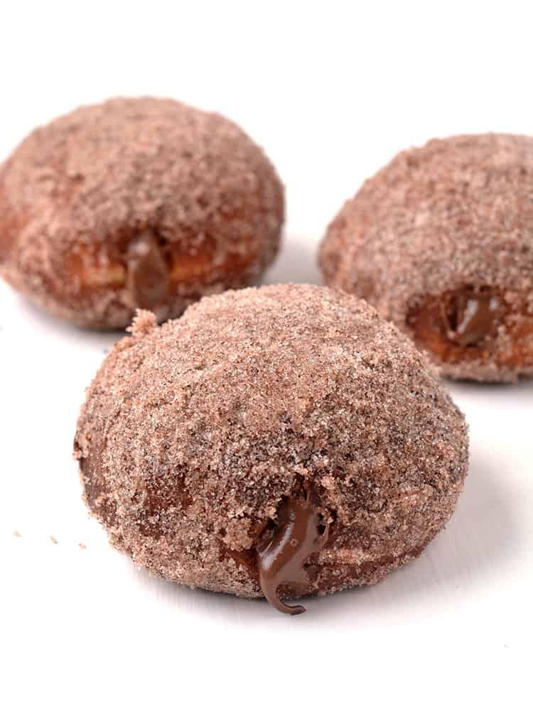 Cinnamon covered Nutella stuffed donuts