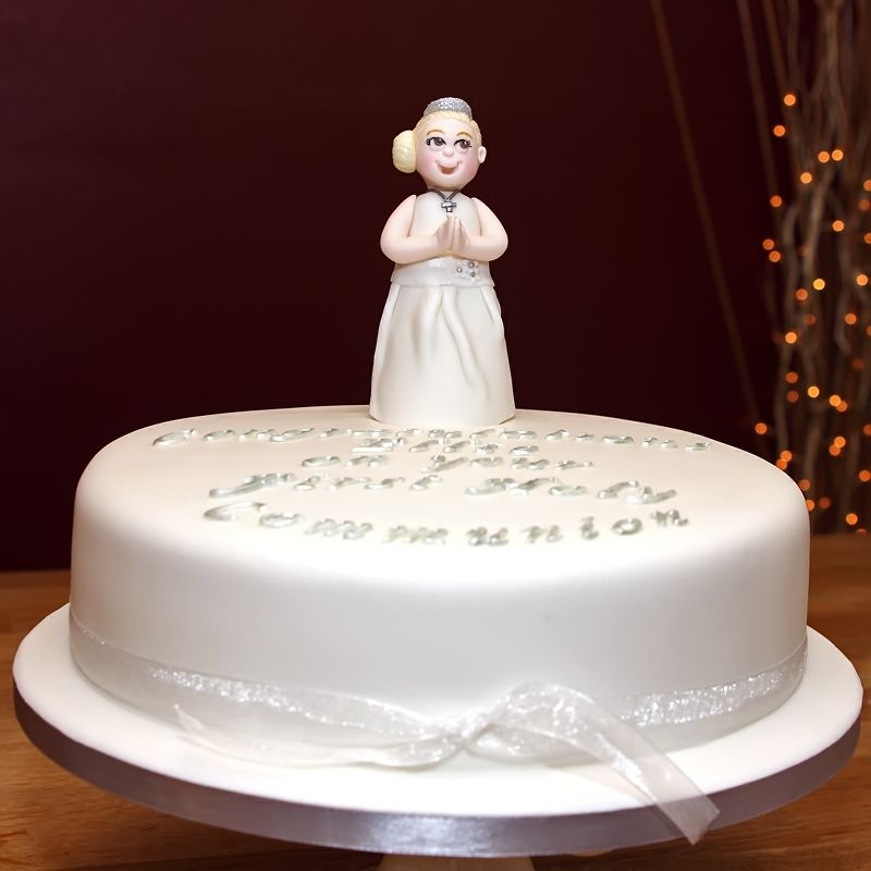 First Holy Communion Cake With Handmade Fondant Girl