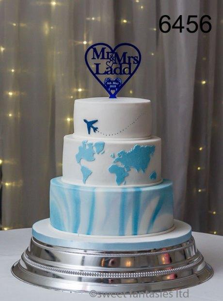 white & blue 3 tier round wedding cake