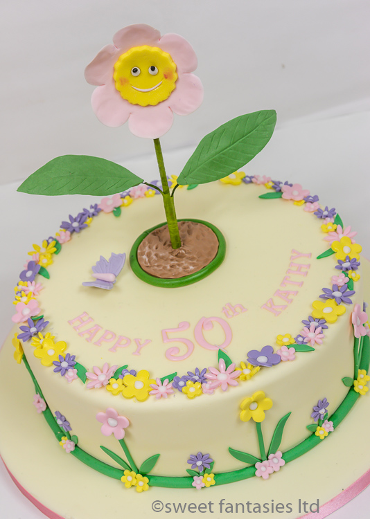 50th Cake with Flowers