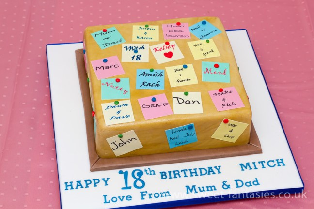Boys 18th birthday cake covered in post-it notes