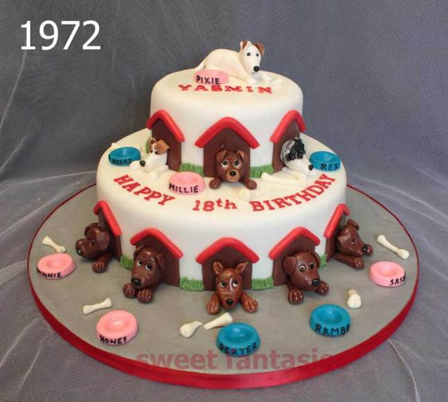 Dogs in kennels, girls 18th birthday cake