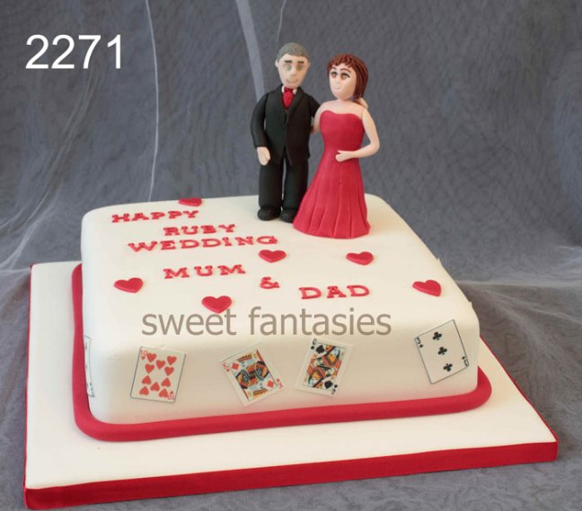 Ruby Wedding Anniversary Cake with Sugar Paste Models of the Couple