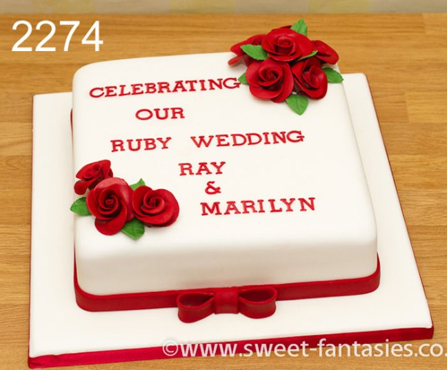 White Cake with Red Roses Ruby Wedding Cake