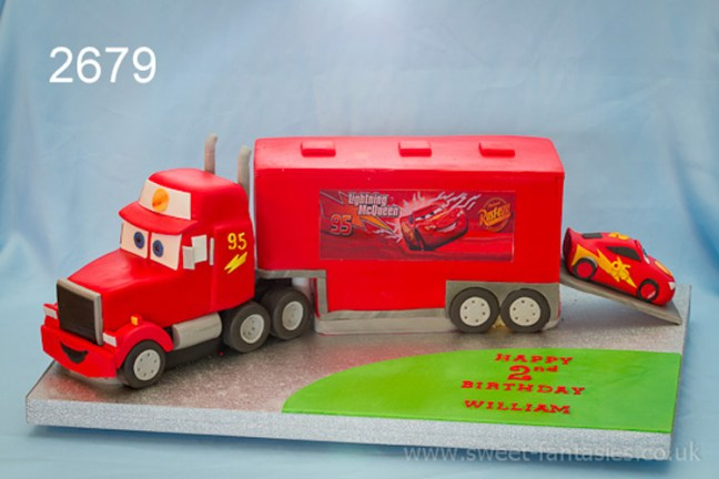 3D lightning Mcqueen Mack Car Transporter Birthday Cake