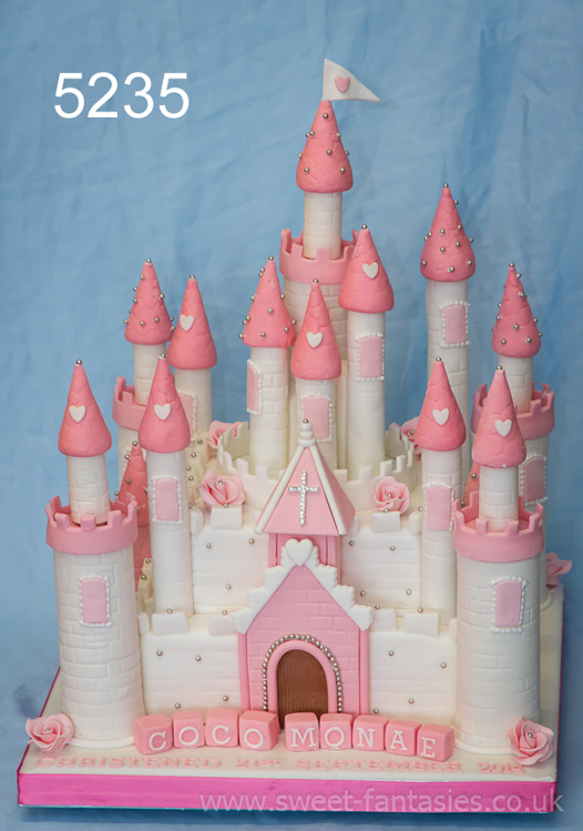 Pink & White Castle - Cakes for Girls Christenings - sweet fantasies