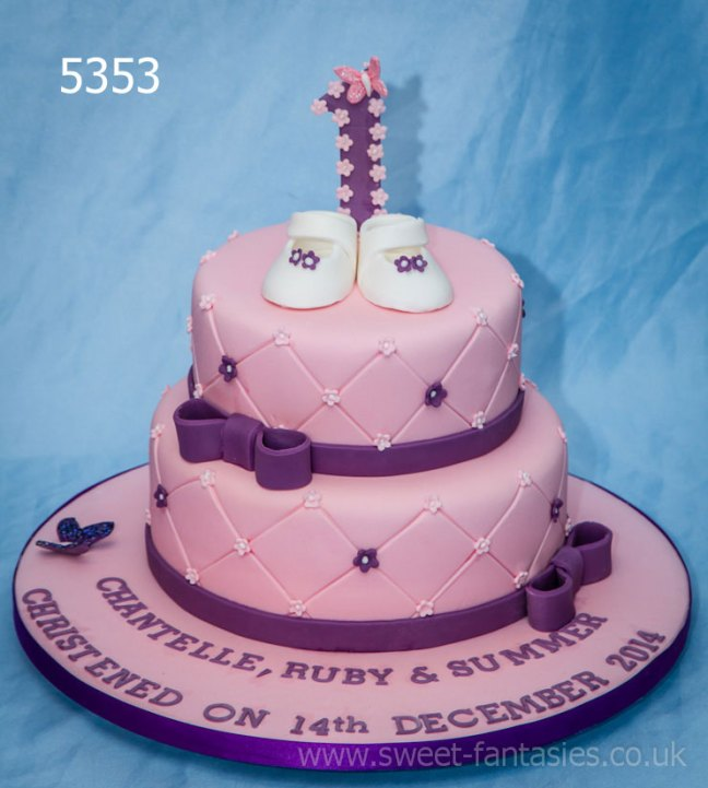 Pink & purple 2 tier girls christening cake - sweet fantasies