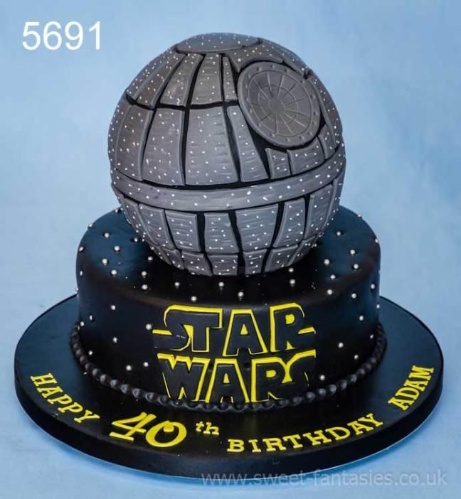 2 tier star wars, death star birthday cake