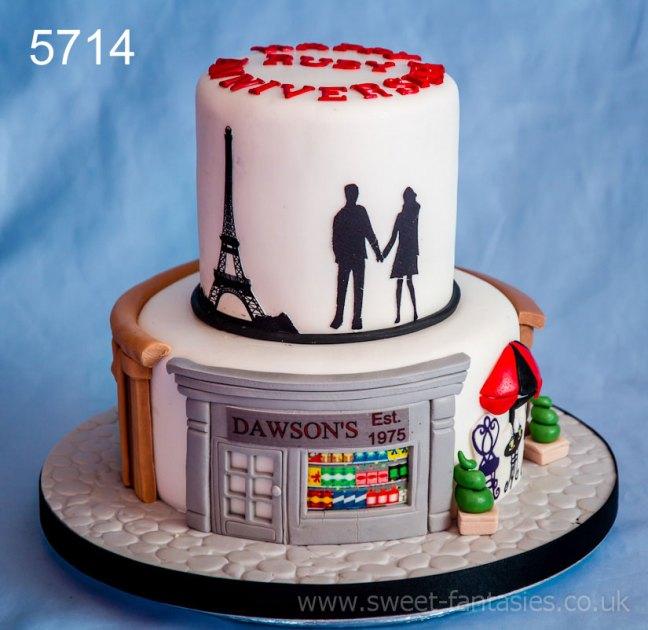 Paris Themed Wedding Anniversary Cake