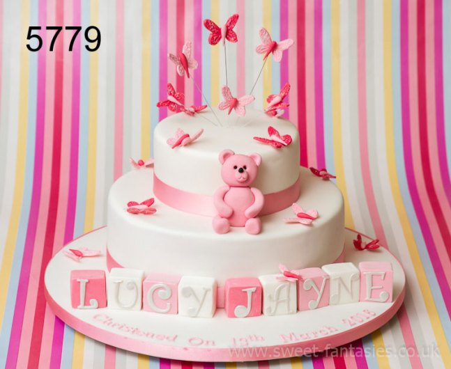 2 Tier with Teddy & Butterflies - Girls Christening Cakes - sweet fantasies