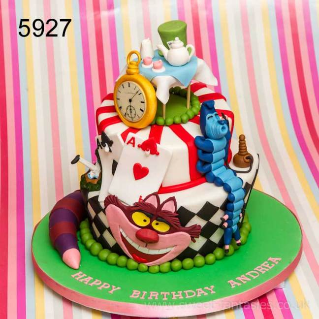 3 tier Alice in wonderland birthday cake