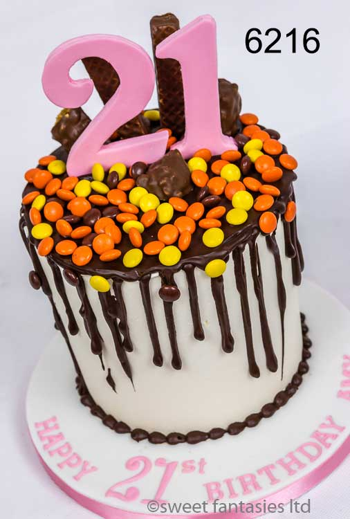 Girls 21st chocolate drip cake with sweets