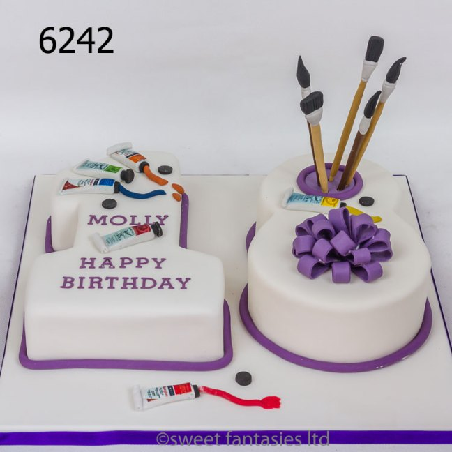 Number 18 artist themed birthday cake with paint & brushes