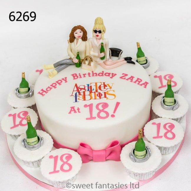 AbFab themed girls 18th birthday cake
