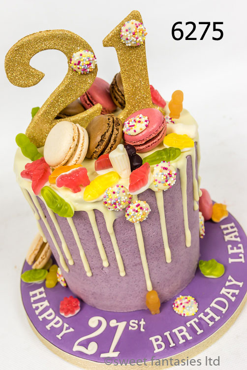 Girls 21st drip cake with macarons & sweets