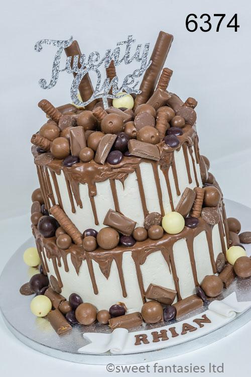 girls 21st 2 tier chocolate drip cake with chocolates