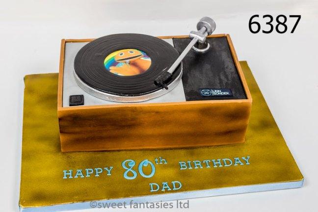 80th birthday cake, 3D record player