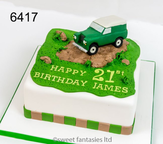 Birthday Cake with a Model of a Land Rover