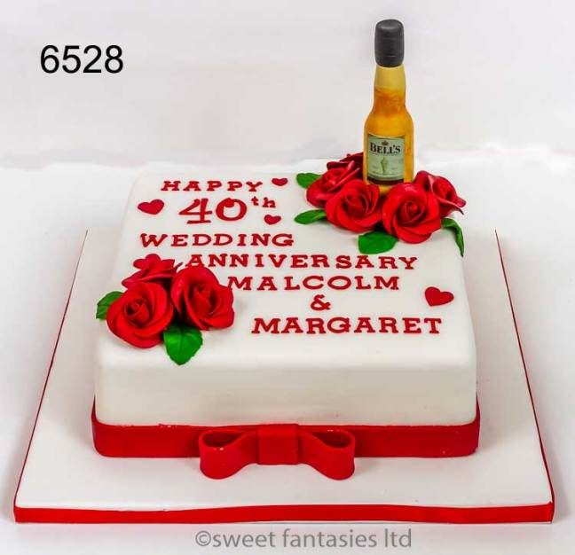 40th Wedding Anniversary Cake with Red Roses