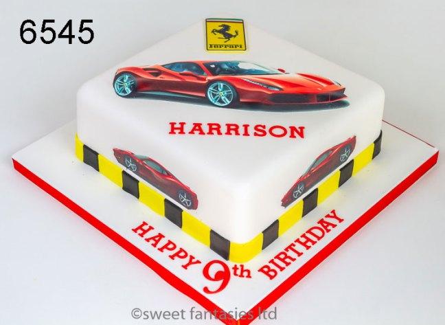 Boys Birthday Cake with Ferrari sports Car